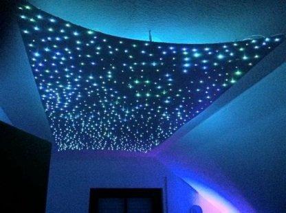 Sternenhimmel LED Set Beleuchtung Funky Star in Glasfaser Optik, 200 Lichtfasern 0,75 mm, inkl. Projektor, Fernbedienung, Memory Funktion, Funkeleffekt, 22 Lichtspiele, 50{2147cd1f21ad2a6ab16a7d163f054b7cc0a42cf3f1a3a4c289ea75413e099ac0} blau, 50{2147cd1f21ad2a6ab16a7d163f054b7cc0a42cf3f1a3a4c289ea75413e099ac0} weiß, mit Sprühkleber zur Montage, absolut geräuschlos
