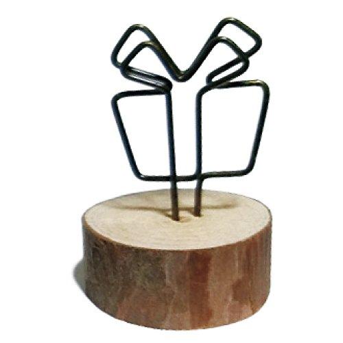 かわいい 木製 ナチュラル ウッド 写真 フォト クリップ ホルダー メモ スタンド カードホルダー メッセージ カード 立て メモ挟み インテリア (006 gift �A)