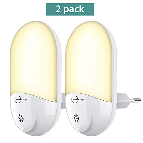 LED Nachtlicht Steckdose - Automatisch Warmweiß LED Nachtlicht Steckdose mit Dämmerungssensor 2 stück, onehous Stromsparendes LED Nachtlicht für Baby, kinder, Kinderzimmer, Schlafzimmer, Gang
