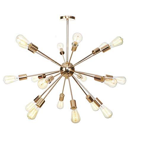 WGFGXQ Industrial Vintage One Sputnik Candelabro 18 Luces, iluminación Colgante Vintage, Accesorio de viruela Plateado, para Comedor, Cocina, Sala de Estar, Dormitorio, cafeterías, Pub-Dorado, 18 l