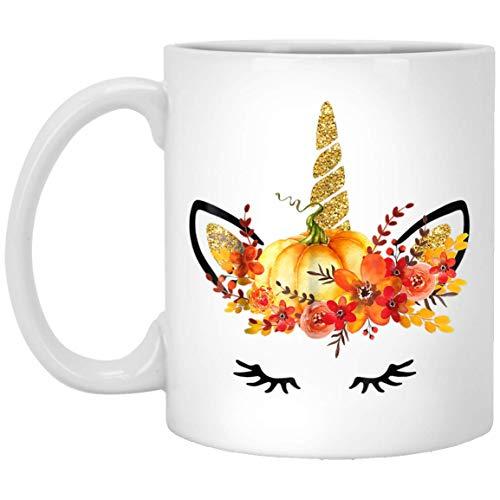 Unicorn Pumpkin Halloween Autumn Festival Cute Gif 11 oz. White Mug