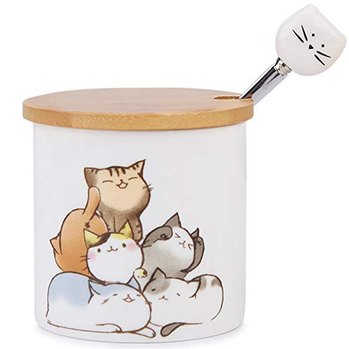 Small Ceramic Sugar Bowl, Kitchenexus Porcelain Sugar Bowl with Wooden Lid and Stainless Steel Spoon 9oz/266ml with Cat Pattern, Suit for Coffee Bar, Home breakfast, Best Gift for Cat Lovers