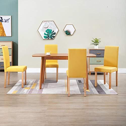 Juego de 4 sillas de comedor amarillas tapizadas