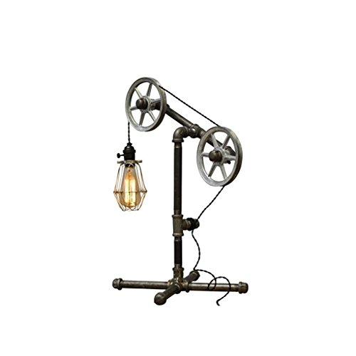 LOFAMI Lampadaire nordique à l'artisanat en acier inoxydable, créatif Vintage Birdcage Design Shade, réglable en hauteur, salon de chambre Bar Coffee Shop Décoration Lampe de table, noire