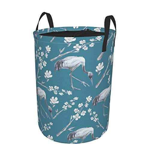 JOSENI Collapsible Large Clothes Hamper for Household,Cranes And Sakura On A Light Blue,Storage Bin Laundry Basket Waterproof with Drawstring,16.5' x 21.6'