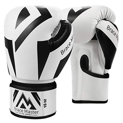Brace Master Boxhandschuhe Serie DG 2.0 Design für präzises und schnelles Stanzen von Sparringhandschuhen für Männer und Frauen, Anzug für MMA Boxing Sparring & Training (8OZ, Box White)