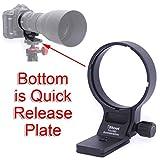 """iShoot 超望遠ズームレンズ TAMRON SP 150-600mm F5-6.3 Di VC USD G2 (for キヤノン EF とニコン F) 用のリング式三脚座、レンズサポート襟、三脚マウントリング, ボトムは Arca-Swiss タイプのクイックリリースプレート, 1/4""""と 3/8""""ネジ穴付き"""
