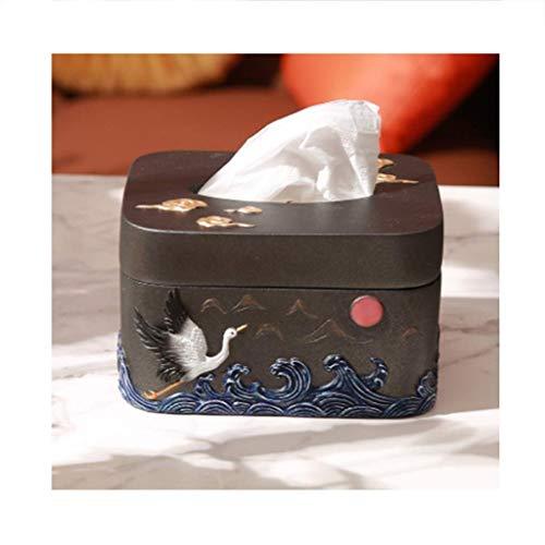 ZLJ Cubierta de Caja de pañuelos de Resina Pañuelos de Papel higiénico Soporte Dispensador de servilletas para la decoración del Dormitorio de la Oficina del Coche de la vanidad (Color: Negro)