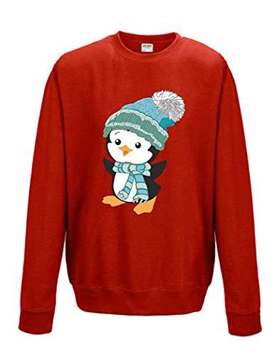 Livingstyle & Wanddesign Sweatshirt Unisex Weihnachten Christmas Pinguin mit Mütze rot (XS)