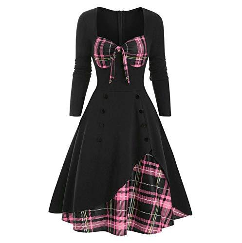 OPIAL Damen Plaid Nähte Knopf Schleife Kleid MittelalterKostüm KarnevalKostüm Schicker Vintage Party Kleider (A1,Rosa,M)
