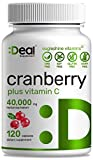 Deal Supplement Cranberry Pills with Vitamin C, Fruit Concentrate 100:1- Equals to 40,000 mg Fresh Cranberries- 120 Capsules, Cleanse & Protect Urinary Tract, Immune Booster - 3 Months Supply