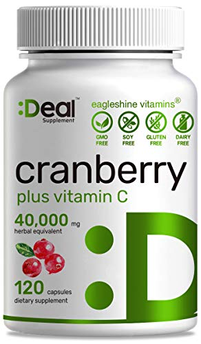 Cranberry Pills with Vitamin C , 100 :1 Fruit Concentrate   Equals to 40,000 mg Fresh Cranberries   120 Capsules, 4X Ultimate Urinary Tract Support, No Sugar, No GMO, No Gluten