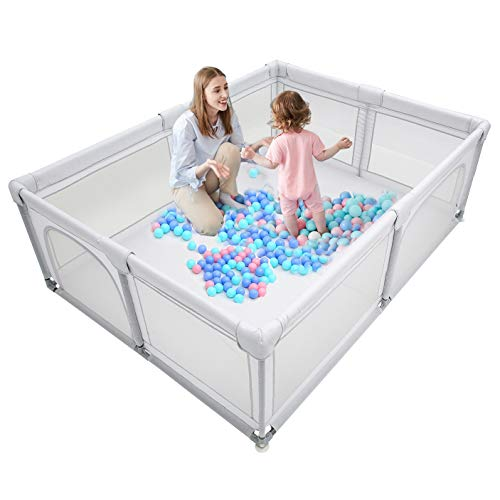 """Baby Playpen,Kids Large Playard,Indoor & Outdoor Kids Activity Center,Playpen for Babies,Infant Safety Gates,Sturdy Play Yard for Toddler,Children's Fences Packable & Portable 81x61"""" (Grey)"""