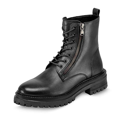 Geox Mujer Botas IRIDEA,señora Botas con Cordones,Zapato bajo,Calzado Deportivo,Cierre de Velcro,Removable Insole,Schwarz,41...