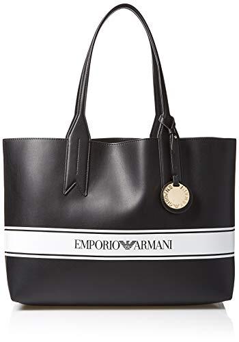 Emporio Armani Damen Designer Logo Stripe Shoulder Tote Bag Umhängetasche, schwarz/weiß, Einheitsgröße