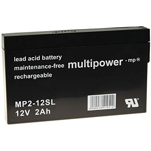 Akku-net - Batteria al piombo (multipower) MP2-12SL compatibile con YUASA NP2-12, 12 V, piombo acido