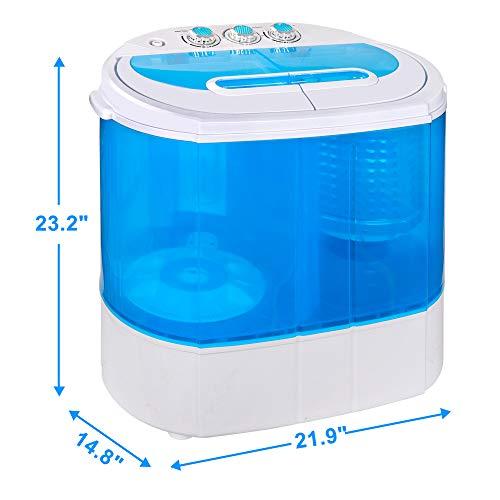 SUPER DEAL Portable Compact Washing Machine, Mini Twin Tub Washing Machine w/Washer&Spinner, Gravity Drain Pump and Drain Hose