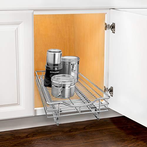"Lynk Professional Organizer Pull Out Under Cabinet Sliding Shelf, 11"" W x 21"" D, Chrome"