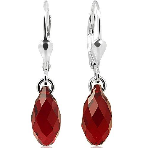Ohrringe Tropfen mit Swarovski® Kristallen 925 Sterling Silber Rot NOBEL SCHMUCK