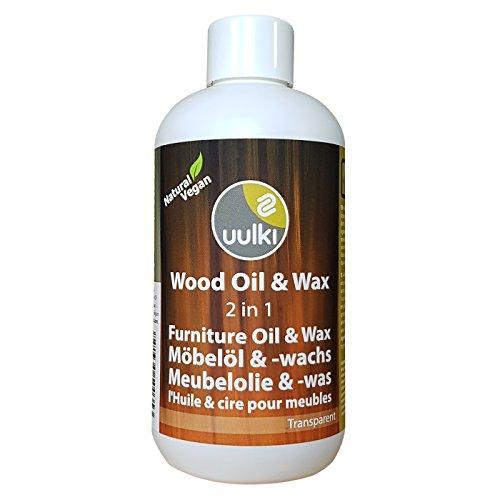 Uulki Natürliche Holzpflege Wachs & Öl für Innen Möbel aus Holz (250 ml) | Möbelöl und Möbelwachs 2-in-1 | Vegan (farblos)