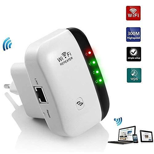 Aigital Répéteur WiFi 300Mbps Point d'accès Wi-FI Extenseur sans Fil Amplificateur de Signal Compatibilité Universelle,1 Port Ethernet, Installation Facile,Protection WPS,Antennes Intégrées