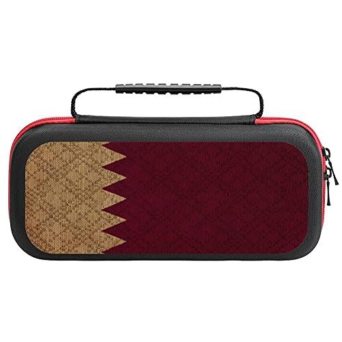 Qatar Grunge Canvas Flag Nintendo Switch用 スイッチ ハード ポーチ アクセサリー 収納バッグ ニンテンドースイッチ ケース 任天堂スイッチ用のキャリングケース 大容量 防塵 耐衝撃 全面保護
