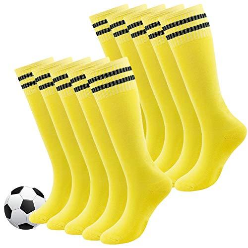 Youth Soccer Socks,Fasoar Boys and Girls Soft Cotton Rugby Socks Cushion Soccer Football Socks 10 Pack Yellow
