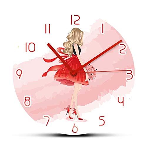 Reloj de Pared Beautiful Blonde Lady Reloj de Pared de diseño Moderno para decoración de habitación de niña Reloj de Arte de Moda Relojes Regalo para Accesorios de Mujer
