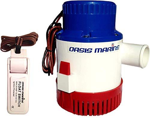 OASIS MARINE 3700 GPH 12v Boat Marine Plumbing Submersible Electric Bilge Pumps (3700gph 12v) Salt Water Pump With Float Switch