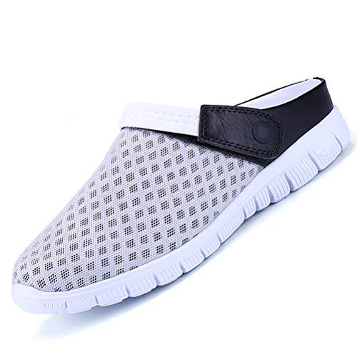 Unitysow Hombres Zuecos Zapatillas de Playa Respirable Malla Ahueca hacia Fuera Las Sandalias Zapatos Verano Ligeros Antideslizante Slippers EU36-46,Gris/Negro,EU40