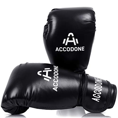 ACCODONE Boxing Gloves for Men and Women, Synthetic Leather Kickboxing Gloves for Sparring, Muay Thai and Heavy Bag, Suitable for Home Fitness and Fight Training (Black)