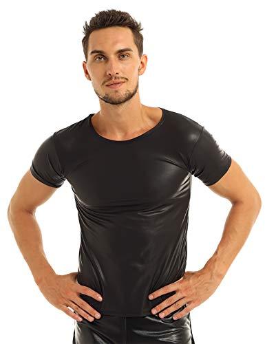 MSemis Camiseta Músculo de Charol para Hombres Camisa Ajustada de Cuero PU Wetlook Sexy Top Shirt Manga Corta Traje Pole Dance Clubwear Negro XL