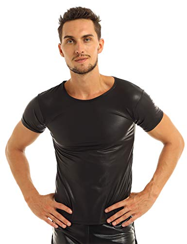 MSemis Camiseta Músculo de Charol para Hombres Camisa Ajustada de Cuero PU Wetlook Sexy Top Shirt Manga Corta Traje Pole Dance Clubwear Negro M