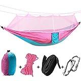 Rehomy Hamaca de camping portátil para colgar con mosquitera para viajes al aire libre, 2 personas