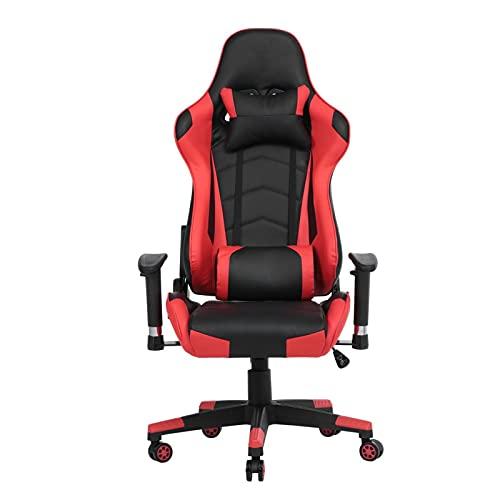 Mountxin Sedia Gaming Lussuosa con Schienale Regolabile 150°,Sedia Sedia Da Gaming Chair,Schienale(150°),Girevole A 360°,Ufficio Girevole ,Poltrona Di Pu For Gamer Economica (Rosso-Nero) (Red)