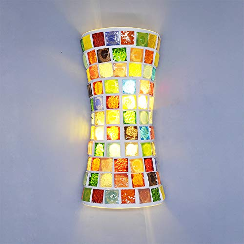 Artpad Modern Bohemia Style - Lámpara de pared con vitral, LED (33 cm) ARRIBA y abajo Luz doble para escalera Dormitorio Sala de estar Apliques 220V Estilo árabe árabe marroquí