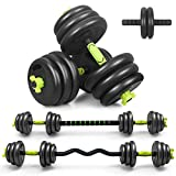 AdjustableWeightDumbbellBarbell, 4 in 1 Weights Barbell Dumbbells Pair of 44 lbs Free Weight Set AB Roller with Curved Bar/Bracer/Gloves/Kneeling Pad for Men & Women Home/Office/Gym Fitness