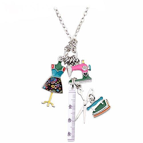 Nähwerkzeuge Emaillierter Anhänger mit Legierung Kette Halskette mit einzigartig Anhänger für Frauen, Mädchen und Kinder (Bunt)