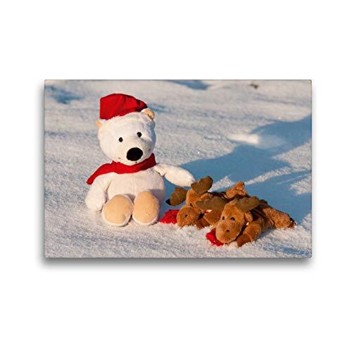 Premium Textil-Leinwand 45 x 30 cm Quer-Format Frohe Weihnachten - Teddy mit Elch im Schnee.   Wandbild, HD-Bild auf Keilrahmen, Fertigbild auf hochwertigem Vlies, Leinwanddruck von Meike Bölts