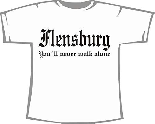 Flensburg - You'll Never Walk Alone; Städte Kinder T-Shirt weiß, Gr. 9-11