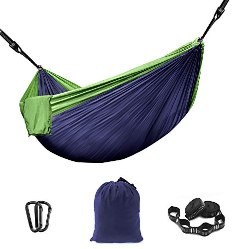 THREE VIKINGS Premium Camping Hammock with Tree Straps - Single and Double Person - Travel Backpacking Portable Outdoor Gear - Navy & Green - Single Person