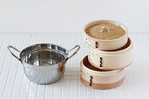 【かごや】杉中華蒸篭(セイロ・蒸し器)15.5cmステンレス鍋付セット[クッキングシート10枚付](386)「せいろで蒸す」レシピ2品付