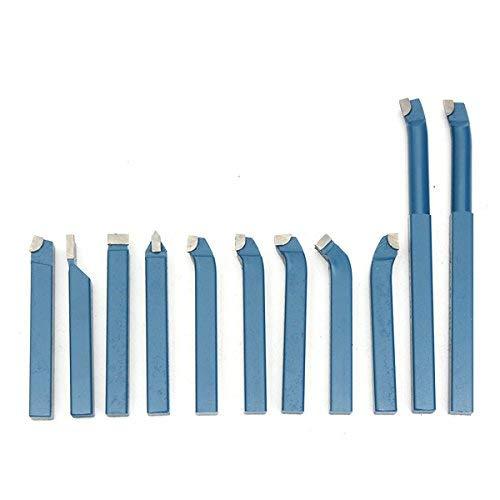 YUQIYU 11pcs soldadura de latón con punta de carburo Torno de inflexión de la mini herramienta de torno mango de la herramienta Conjunto 10x10mm Set Bit