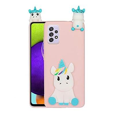 HopMore Funda para Samsung Galaxy A32 5G Silicona Blando Divertidas Animal Carcasa Funda Galaxy A32 5G Dibujo 3D Soft Case Ultrafina Flexible Cover Gracioso - Unicornio Rosa