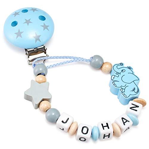 Schnullerkette mit Namen für Babys - Mädchen und Jungen - Viele Modelle und Farben (Elefant, natur, hellblau)