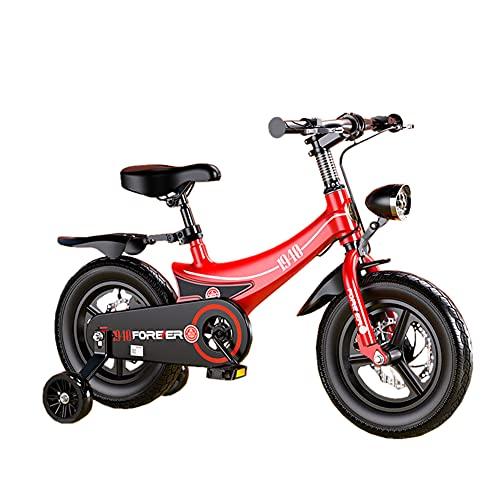 WYYY Bicicleta - Tamaño 12 '' 14 '' 16 '' 18 '' - Camión De Elevación Ajustable Sillín De Montar Ruedas Y Diseño De Freno De Disco Doble Y Trasero/Rosa/Color Rojo