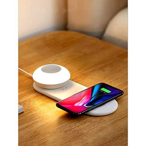 2 en 1 para iPhone 12 luz nocturna táctil LED recargable y ajustable y cargador magnético inalámbrico