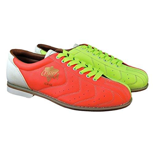 Glow TCRGL Damen Bowlingschuhe Cobra Rental Schnürsenkel, Neongelb/orange/Weiß, 7 Monate