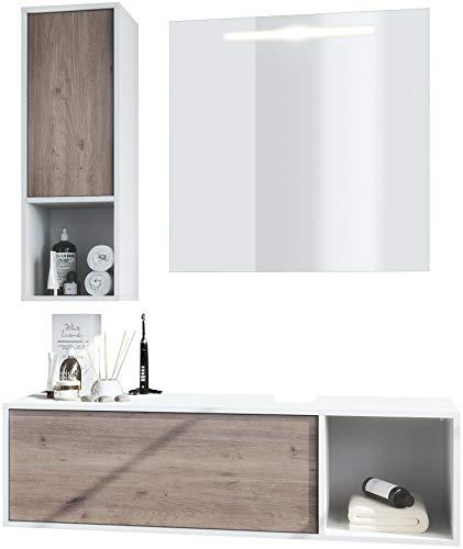 Conjunto de Muebles para baño La Costa, Cuerpo en Blanco Mate/Frentes en Roble nórdico, con Espejo LED