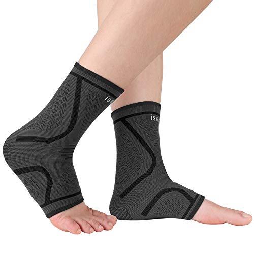 isermeo Cavigliera Compressione, Supporto per Caviglia Elastica, Tutore Fascia Cavigliere Sportiva Traspirante da Uomo e Donna Distorsione, Protezione Caviglia(1 Paio), Grigio + Nero, M
